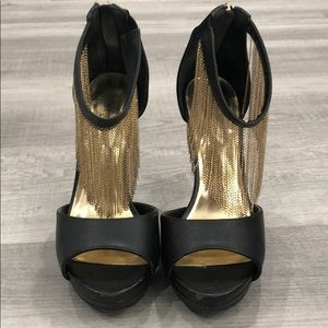 Black Heels with Gold Chains